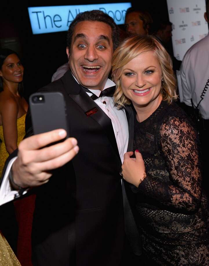 NEW YORK, NY - APRIL 23:  Comedians Bassem Youssef and Amy Poehler attend the TIME 100 Gala, TIME\'S 100 Most Influential People In The World reception at Jazz at Lincoln Center on April 23, 2013 in New York City.  (Photo by Larry Busacca/Getty Images for TIME)