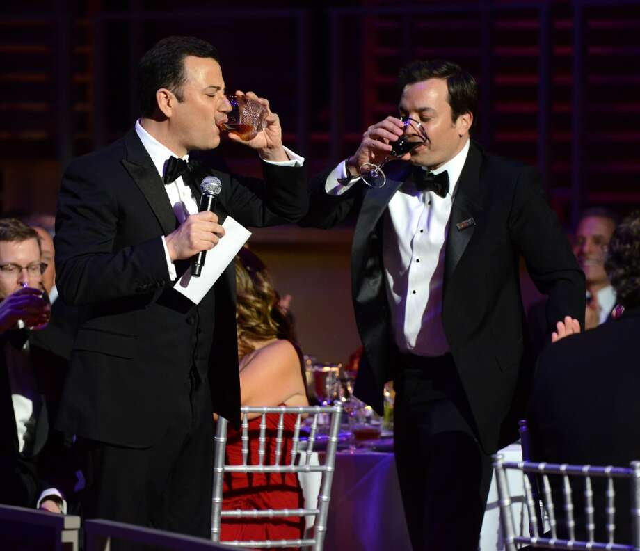 NEW YORK, NY - APRIL 23:  Jimmy Fallon and Jimmy Kimmel attend TIME 100 Gala, TIME\'S 100 Most Influential People In The World at Jazz at Lincoln Center on April 23, 2013 in New York City.  (Photo by Kevin Mazur/WireImage for TIME)