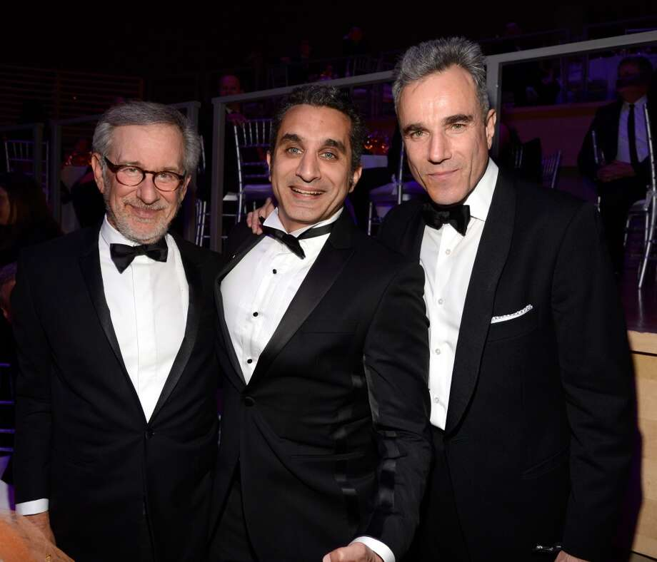NEW YORK, NY - APRIL 23:  Steven Spielberg, Bassem Yousef and Daniel Day Lewis attend TIME 100 Gala, TIME\'S 100 Most Influential People In The World at Jazz at Lincoln Center on April 23, 2013 in New York City.  (Photo by Kevin Mazur/WireImage for TIME)