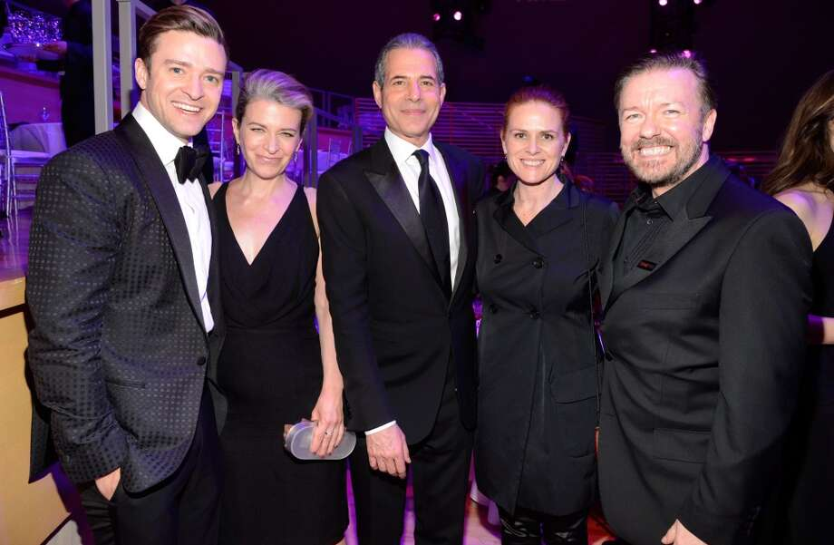 NEW YORK, NY - APRIL 23:  Justin Timberlake, guest, TIME managing editor Rick Stengel, guest and Ricky Gervais attend TIME 100 Gala, TIME\'S 100 Most Influential People In The World at Jazz at Lincoln Center on April 23, 2013 in New York City.  (Photo by Kevin Mazur/WireImage for TIME)
