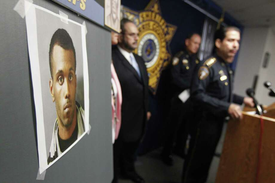 Harris County Sheriff Adrian Garcia discusses the  arrest of a suspect in a series of rapes, April 24, 2013. (Johnny Hanson / Houston Chronicle) Photo: Johnny Hanson