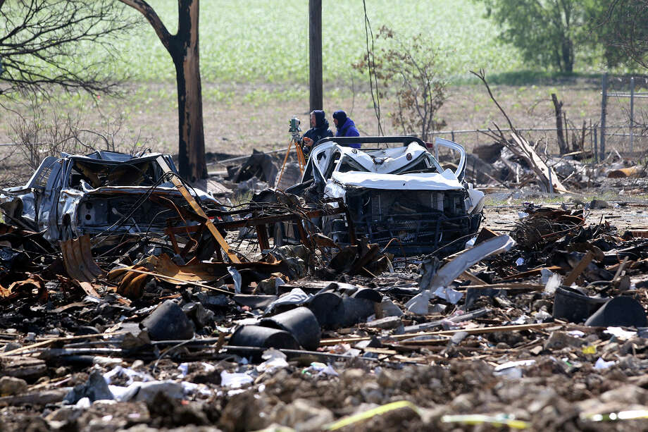 Forensic mappers work at the site of the fire and explosion in West, Texas on  April 24 2013. Photo: TOM REEL
