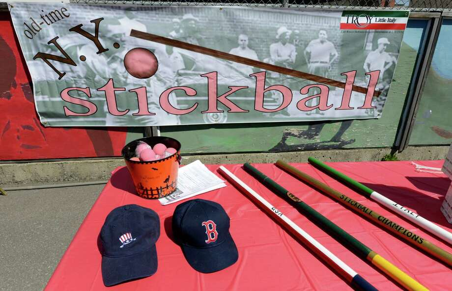 Stickball bats and balls were on display during a press conference April 24, 2013, in Troy, N.Y. announcing the Stick To Hunger annual high school stickball tournament to be held April 27th at the Troy Public Marketplace in Troy.   (Skip Dickstein/Times Union) Photo: SKIP DICKSTEIN / 10022098A