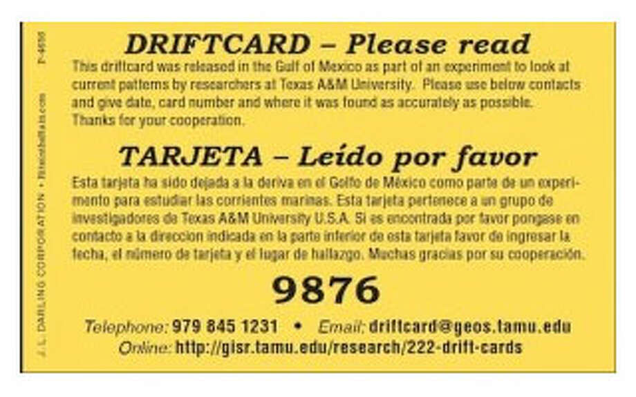 A sample drift card, one of 5,000 that will be placed into the Gulf Of Mexico for scientific tracking purposes. Photo: Texas A&M