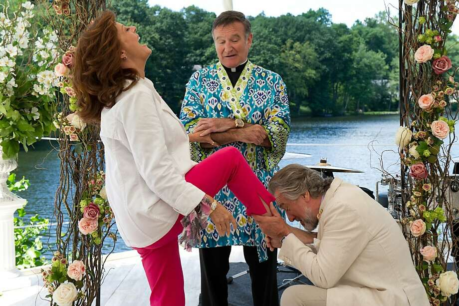 "Bebe (Susan Sarandon, left), Father Moinighan (Robin Williams, center) and Don (Robert De Niro) in the not-very-funny ""The Big Wedding."" Photo: Barry Wetcher, Lionsgate"
