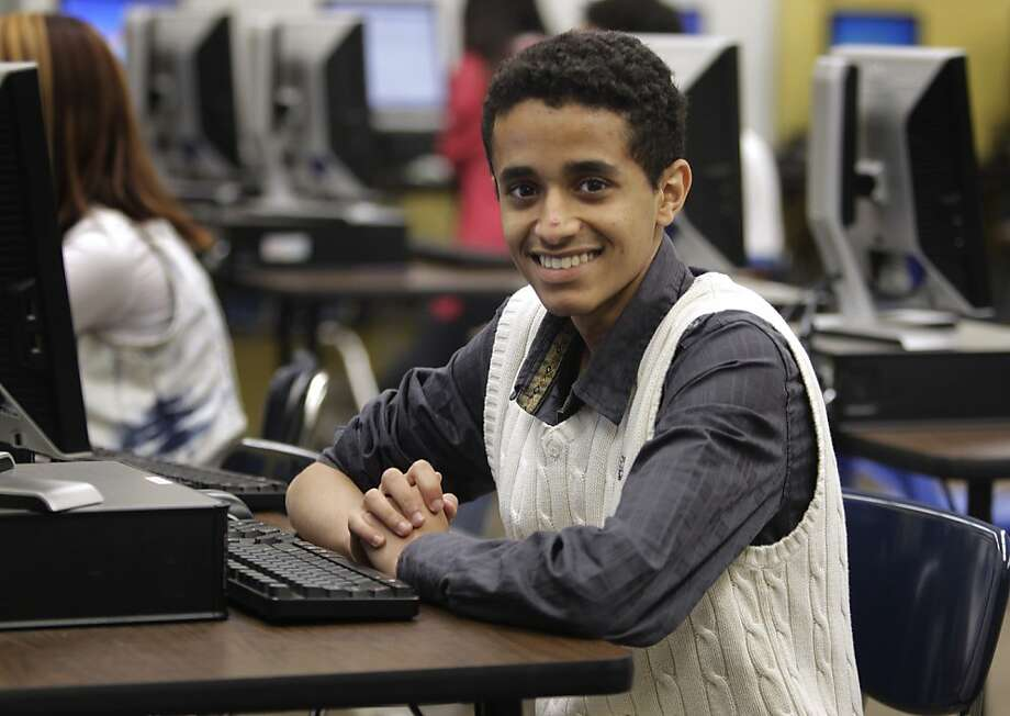 Yasser Alwan is working hard to master English and hopes to become a lawyer. Photo: Paul Chinn, The Chronicle