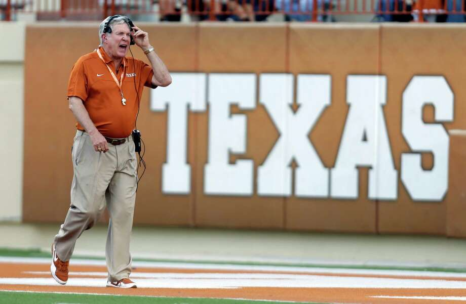 Texas coach Mack Brown during the team's spring football game, Saturday, March 30, 2013, in Austin, Texas. (AP Photo/Eric Gay) Photo: Eric Gay, Associated Press / AP