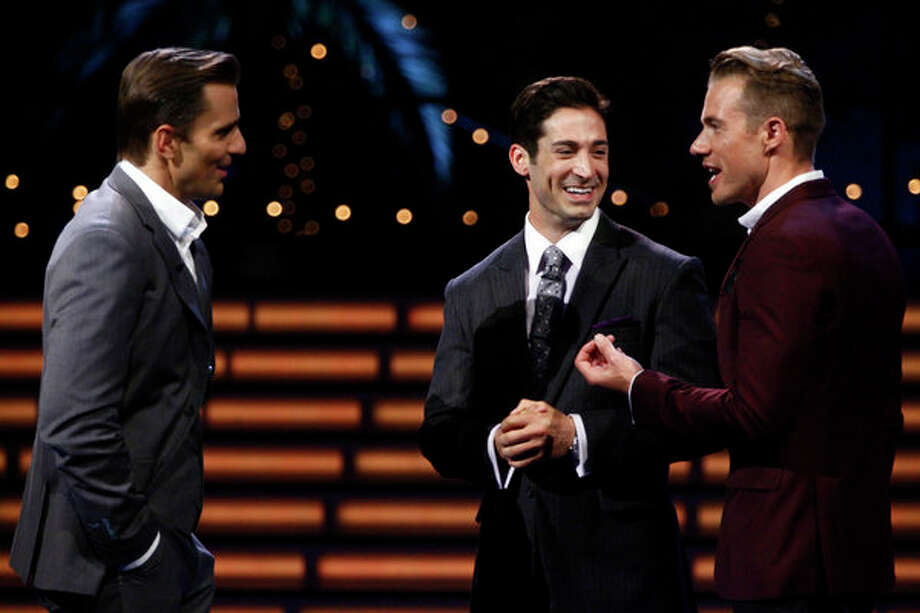 """Ready for Love,"" ""Love Connections"" Episode 103  -- Pictured: (l-r) Bill Rancic, Ben Patton, Tim Lopez -- Photo: NBC, Vivian Zink/NBC / 2012 NBCUniversal Media, LLC"
