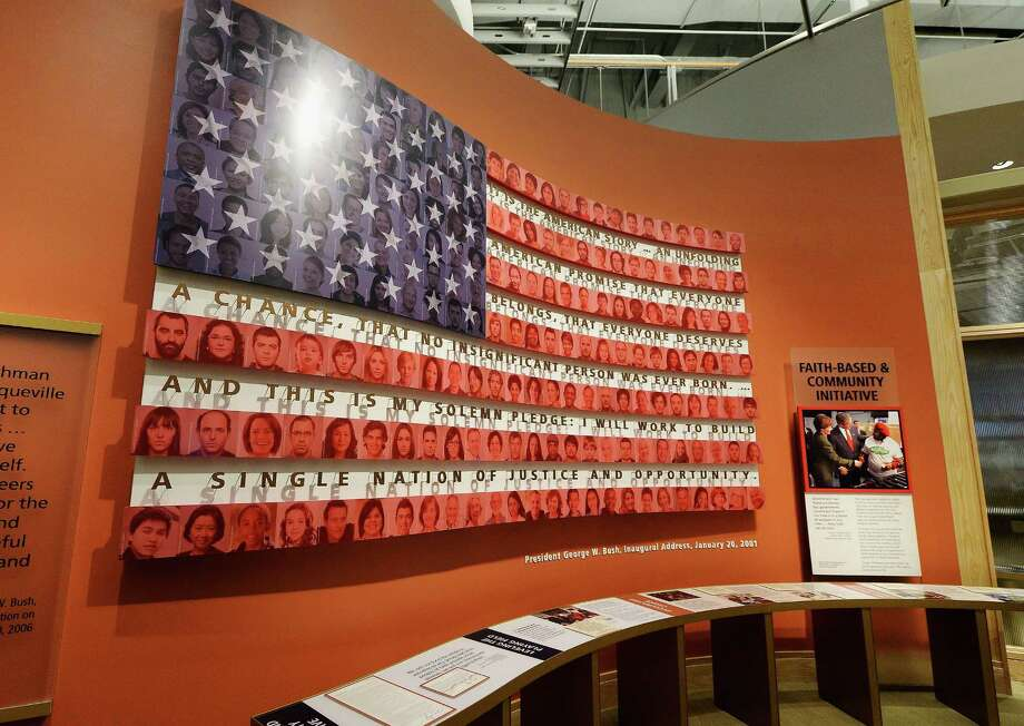 A display on the Bush administration's faith-based and community initiative is seen at the George W. Bush Presidential Center on the campus of Southern Methodist University i seen on April 24, 2013 in Dallas, Texas. Dedication of the George W. Bush Presidential Library is to take place on April 25 with all five living U.S. Presidents in attendance and an expected 8,000 invitation-only guests. Photo: Kevork Djansezian, Getty Images / 2013 Getty Images