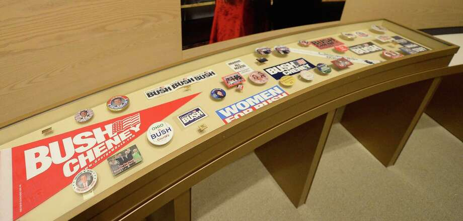 A display of presidential campaign memorabilia is seen at the George W. Bush Presidential Center on the campus of Southern Methodist University i seen on April 24, 2013 in Dallas, Texas. Dedication of the George W. Bush Presidential Library is to take place on April 25 with all five living U.S. Presidents in attendance and an expected 8,000 invitation-only guests. Photo: Kevork Djansezian, Getty Images / 2013 Getty Images