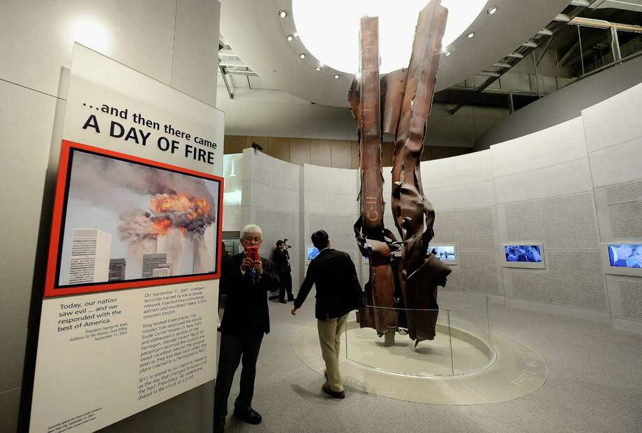 Steel beams from the World Trade Center are displayed in the 9/11 terrorist attacks portion of the George W. Bush Presidential Center on the campus of Southern Methodist University on April 24, 2013 in Dallas, Texas. Dedication of the George W. Bush Presidential Library is to take place on April 25 with all five living U.S. Presidents in attendance. Photo: Kevork Djansezian, Getty Images / 2013 Getty Images
