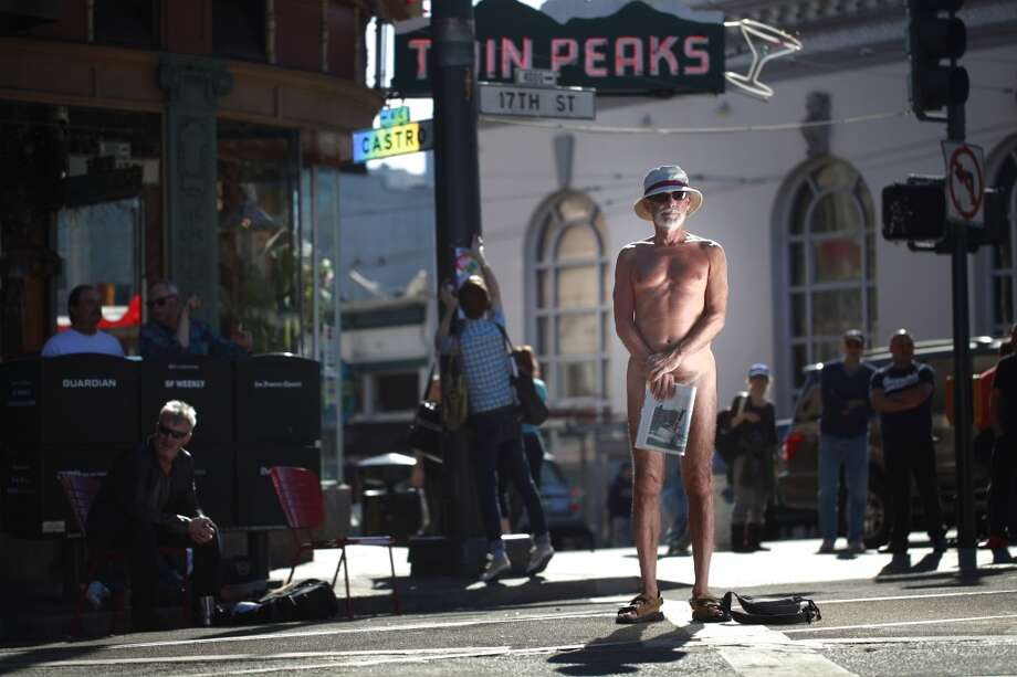 After San Francisco Supervisor Scott Wiener proposed legislation that would restrict people from showing their genitals on city sidewalks and public plazas, George Davis, of San Francisco, stands up for his beliefs at Jane Warner Plaza in the Castro on Tuesday Oct. 10, 2012 in San Francisco, Calif.