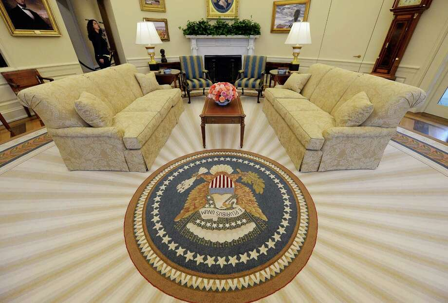 A  recreated White House Oval Office is seen during a tour of the George W. Bush Presidential Center on the campus of Southern Methodist University on April 24, 2013 in Dallas, Texas. Dedication of the George W. Bush Presidential Library is to take place on April 25 with all five living U.S. Presidents in attendance. Photo: Kevork Djansezian, Getty Images / 2013 Getty Images