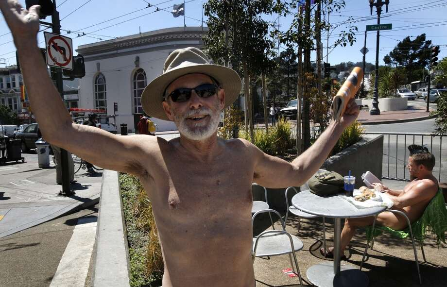 George Davis, (left) and Eric Anderson enjoy the weather while in the nude at a parklet at the corner of 17th street and Castro in San Francisco, Ca. , on Tuesday September 6, 2011. Since it really hasn\'t been a crime to walk around nude in the city, at the very least these naked folks could put a cover on chairs when they dine and put a few clothes on too, at least that\'s what Supervisor Scott Wiener is proposing with new legislation that he will introduce at the Board of Supervisors today.