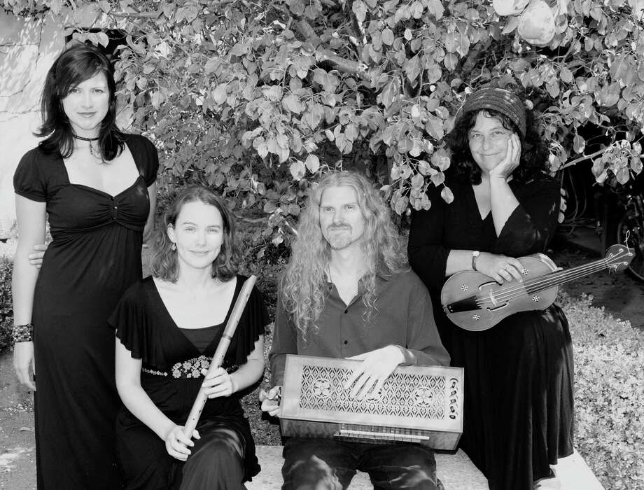 Late medieval music group Cançonier consists of Phoebe Jevtovic, from left, Annette Bauer, Tim Rayborn and Shira Kammen. Bauer will not appear in the Houston concert. Photo: Courtesy Of Canconier