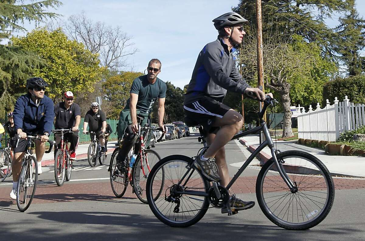 Freshman congressman Rep. Eric Swalwell (right) leads constituents on a six-mile bike ride in Hayward, Calif. on Saturday, March 23, 2013.