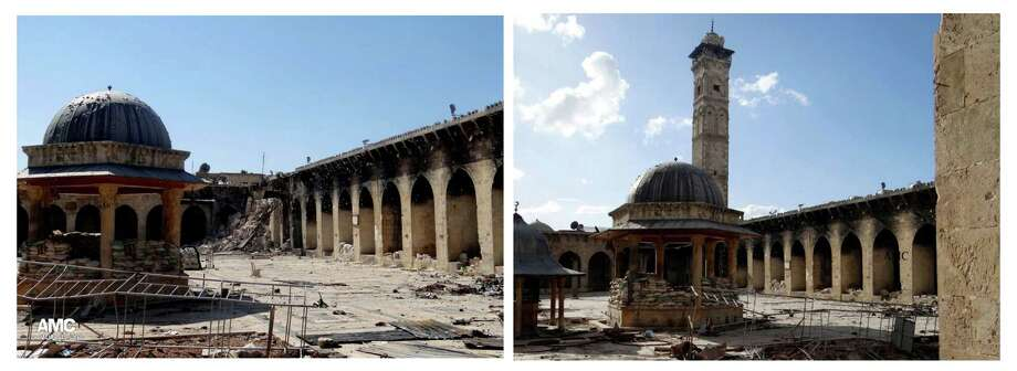 COMBO - This combination of two citizen journalist images provided by Aleppo Media Center AMC which has been authenticated based on its contents and other AP reporting, shows at left: the damaged famed 12th century Umayyad mosque without the minaret, background right corner, which was destroyed by the shelling, in the northern city of Aleppo, Syria, Wednesday April 24, 2013; and at right, an undated view of the mosque with is minaret still intact. The minaret of a famed 12th century Sunni mosque in the northern Syrian city of Aleppo was destroyed Wednesday, April; 24, 2013, leaving the once-soaring stone tower a pile of rubble and twisted metal scattered in the tiled courtyard. President Bashar Assad's regime and anti-government activists traded blame for the attack against the Umayyad mosque, which occurred in the heart Aleppo's walled Old City, a UNESCO World Heritage site. It was the second time in just over a week that a historic Sunni mosque in Syria has been seriously damaged. (AP Photo/Aleppo Media Center, AMC) Photo: Anonyomous, HOEP / Aleppo Media Center AMC