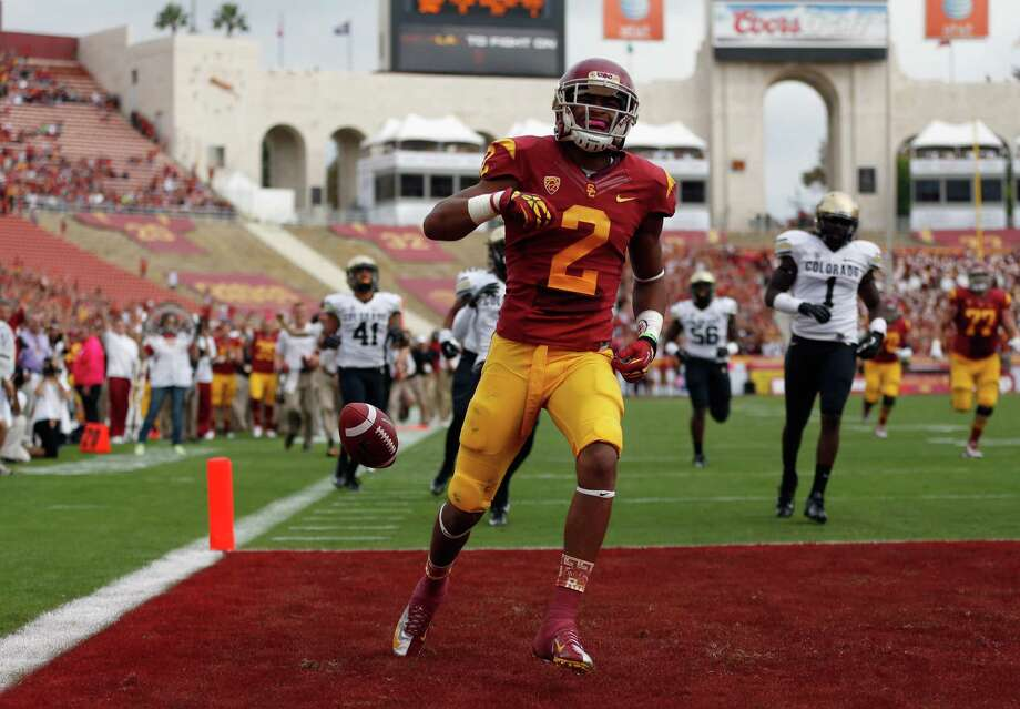 Former Southern Cal wide receiver Robert Woods could fit the Texans' needs with the 27th pick. Woods, an All-American as a sophomore, was a three-year starter for the Trojans. Photo: Jeff Gross / Getty Images