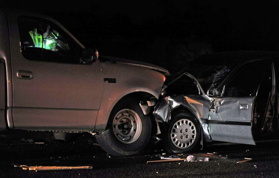 A collision occurred in the north bound lanes of Eastex Freeway just before the LNVA canal just after eight o'clock on Wednesday, April 24, 2013.  It was released that a vehicle was traveling south bound in a north bound lane causing one fatality in the collision. Photo taken: Randy Edwards/The Enterprise