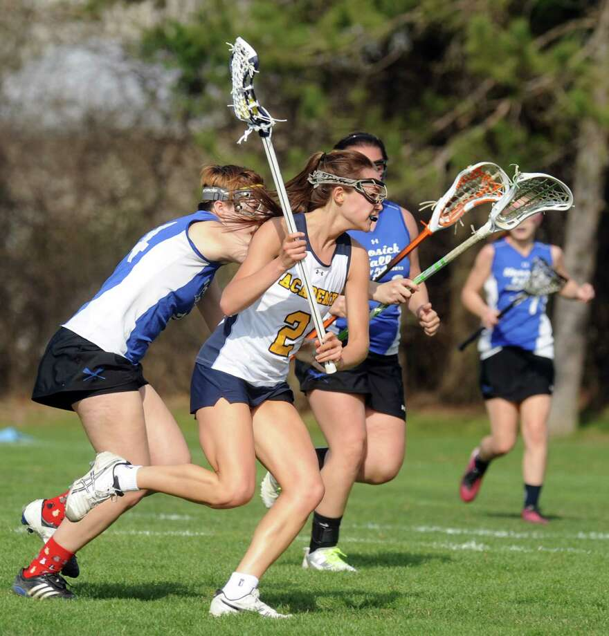 Albany Academy for Girl's Emma Hardy during their high school lacrosse game against Hoosick Falls on Wednesday April 24, 2013 in Albany, N.Y. (Michael P. Farrell/Times Union) Photo: Michael P. Farrell