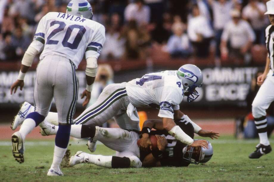 1978: John HarrisSeventh round, 173rd-overall pick | Position: Free safety | College: Arizona State  The Seahawks found a more-than-dependable starter in Harris (pictured No. 44), who in eight seasons for the Seahawks had 41 interceptions and one sack while starting 111 of his 119 games for Seattle. In 1981, Harris snagged 10 picks and returned two of them for touchdowns. He finished his career with three more seasons as a Minnesota Viking, retiring after 1988 with 50 career interceptions. Photo: George Rose, Getty Images