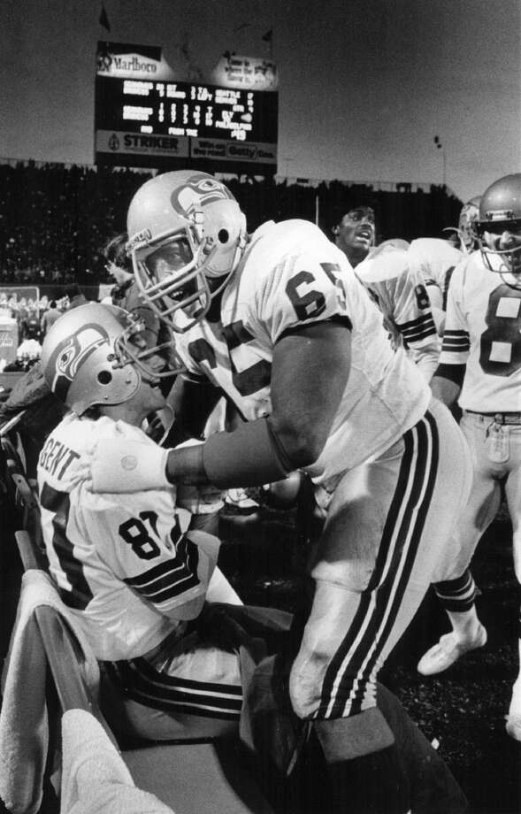 1981: Edwin BaileyFifth round, 114th-overall pick | Position: Guard | College: South Carolina State  Bailey (pictured No. 65) spent his entire 11-year career in Seattle, mainly as the starting left guard. During his time as a Seahawk, which included Seattle's run to the AFC Championship Game in 1983, he recovered seven fumbles and started 121 of the 139 games he played. Bailey retired after the 1991 season. Photo: Damian Strohmeyer, Denver Post / Getty Images