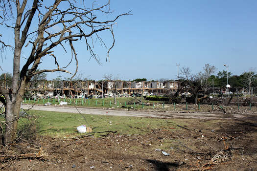Trees nearby are ruined at the site of the fire and explosion in West, Texas on  April 24 2013. Photo: For The San Antonio Express-News