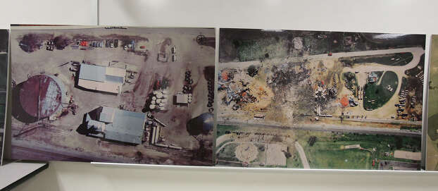 Officials display before and after photos of the site of the fire and explosion in West, Texas on  April 24 2013. Photo: For The San Antonio Express-News
