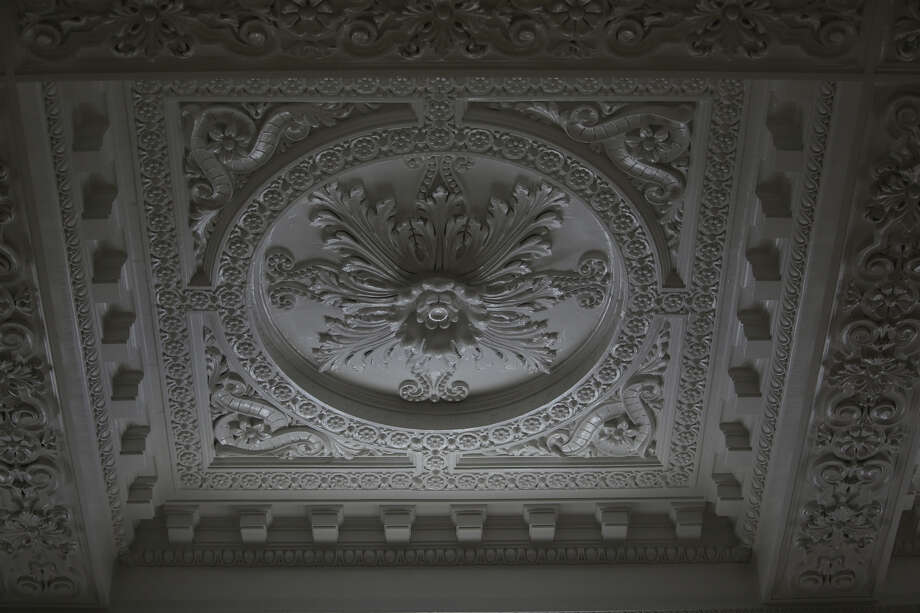 A detail of the restored plaster ceiling is shown in the main waiting area. Photo: JOSHUA TRUJILLO, SEATTLEPI.COM / SEATTLEPI.COM
