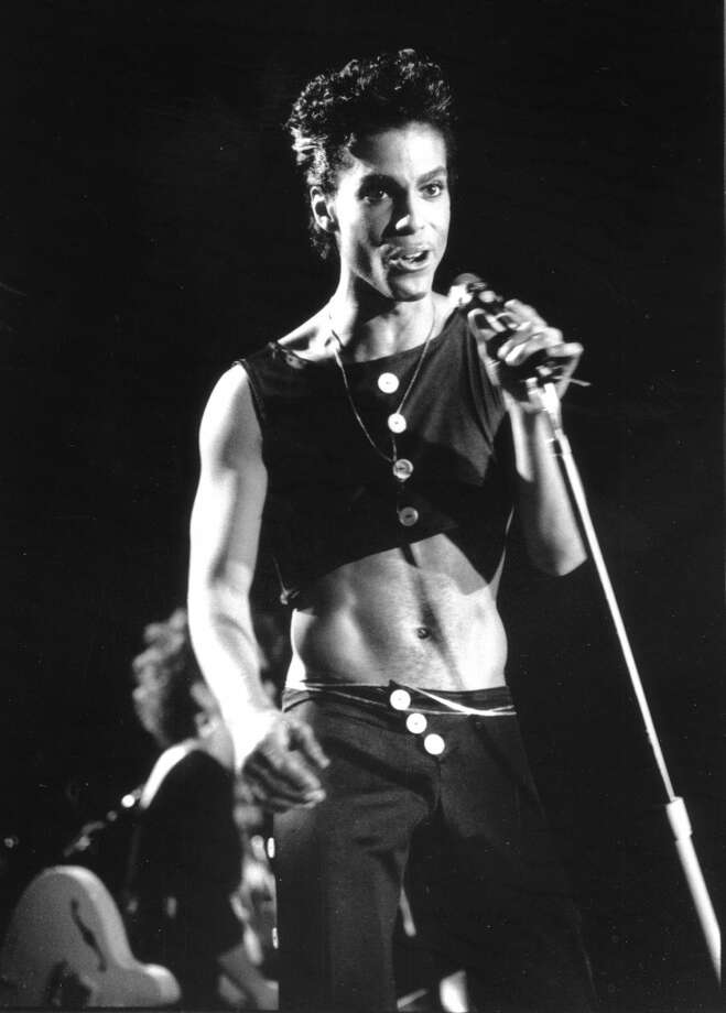 Musician Prince performing at Wembley Arena in August 14, 1986 in London, England. (Photo by David Corio/Michael Ochs Archives)