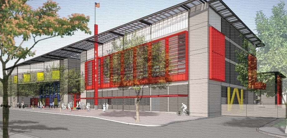 The Bay Meadows High School project in San Mateo. Rendering via Curbed SF.