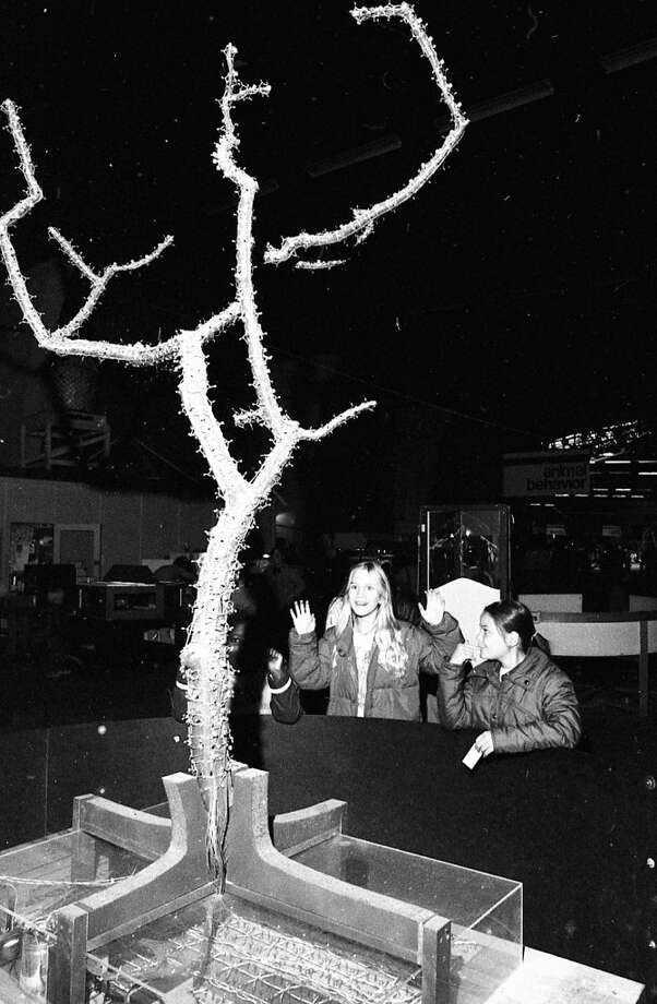 "Jan. 18, 1977: The Light Tree! Local TV news reporters that covered the Exploratorium always featured this exhibit, which responded to noise. I remember it on ""Evening Magazine\"" at least once. Vertical photos look pretty horrible in these galleries so I included a larger version below."