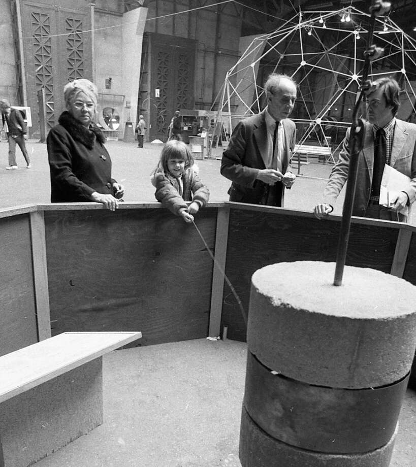 Jan. 18, 1977: Oppenheimer again, teaching visitors young and old about some science. Note the Tactile Dome under construction in the background.