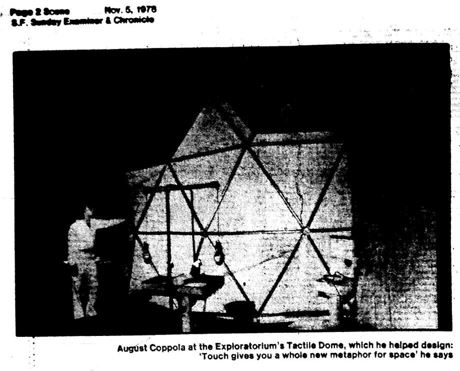 """Part of a 1978 Examiner article about the new Tactile Dome, which was created by August Coppola. (Nicolas Cage\'s dad.) From the article: \""""Sex, at its best, should be a shared strength of sensitivity and a fantasy at skin level. You can\'t tickle yourself, you know.\"""""""