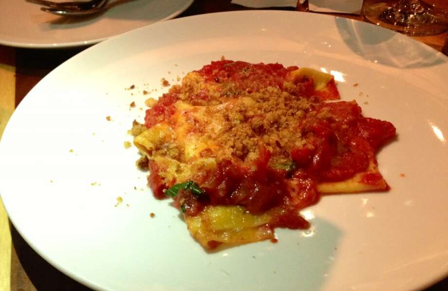 Torn hankerchief pasta with tomato, basil and bread crumbs