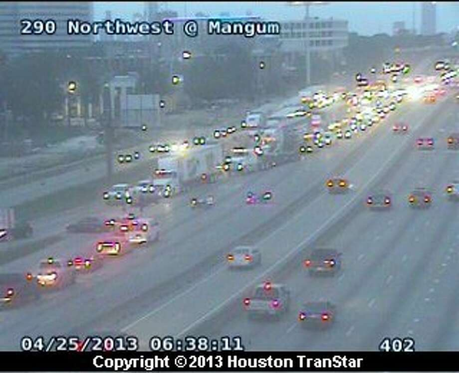 The Northwest Freeway was shut down near Mangum after a four-car pileup about 5:40 a.m. Thursday. Photo: Houston TranStar.