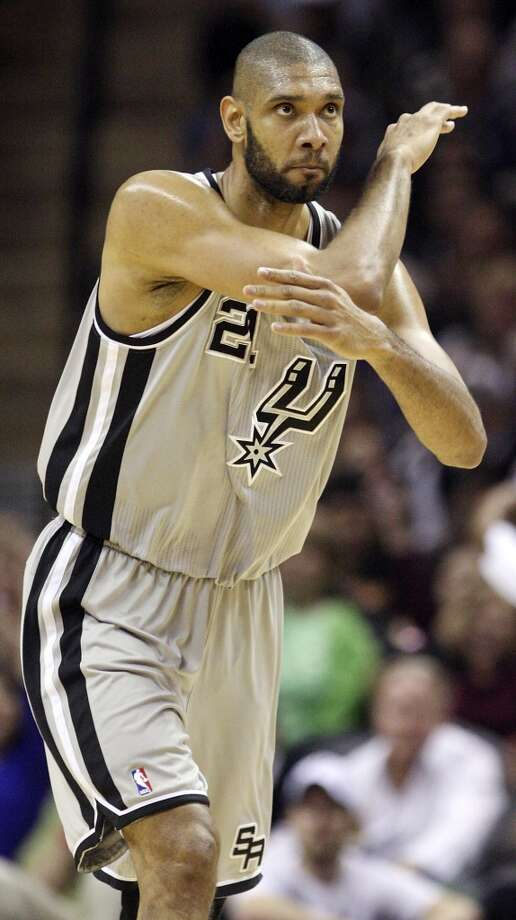 San Antonio Spurs' Tim Duncan reacts after scoring during first half action of game 2 in the first round of the NBA Playoffs against the Los Angeles Lakers Wednesday April 24, 2013 at the AT&T Center.