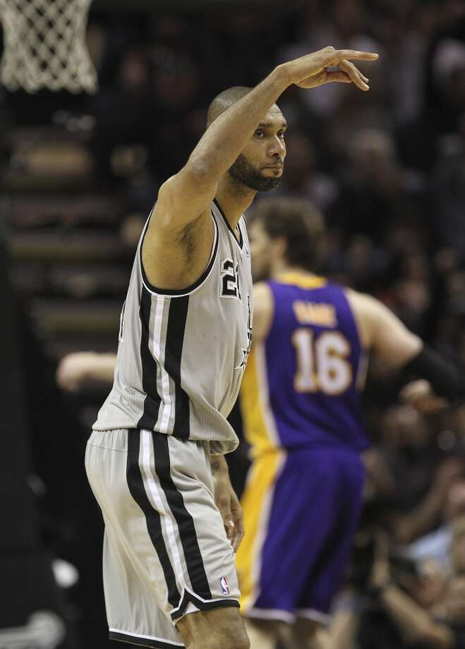 San Antonio Spurs' Tim Duncan reacts after scoring in the second half of game 2 in the first round of the NBA Playoff  against the Los Angeles Lakers at the AT&T Center, Wednesday, April 24, 2013. The Spurs won102-91 and lead the series 2-0.