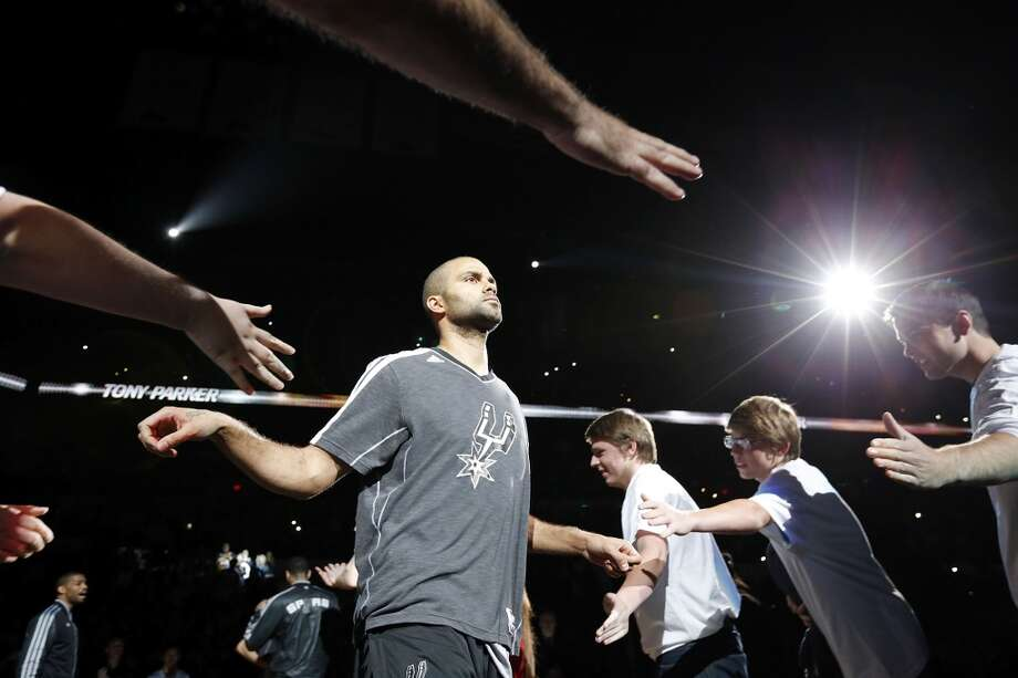 San Antonio Spurs' Tony Parker is introduced before game 2 in the first round of the NBA Playoffs against the Los Angeles Lakers Wednesday April 24, 2013 at the AT&T Center.
