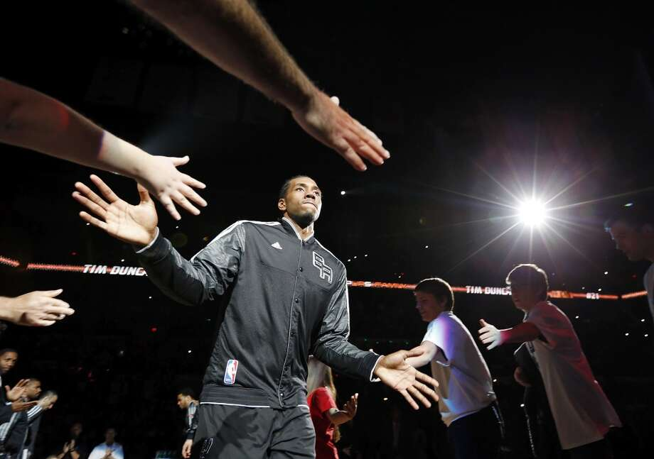 San Antonio Spurs' Kawhi Leonard is introduced before game 2 in the first round of the NBA Playoffs against the Los Angeles Lakers Wednesday April 24, 2013 at the AT&T Center.