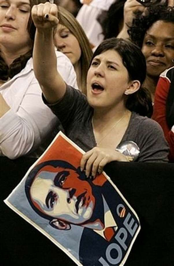 A supporter cheers as Democratic presidential hopeful, Sen. Barack Obama, D-Ill., campaigns at a rally in Fort Worth, Texas, Thursday, Feb. 28, 2008. Photo: Tony Gutierrez, AP / AP
