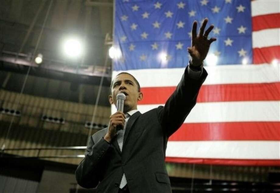 Democratic presidential hopeful Sen. Barack Obama, D-Ill., speaks during a rally Thursday, Feb. 28, 2008, in Ft.  Worth, Texas. Photo: Rick Bowmer, AP / AP