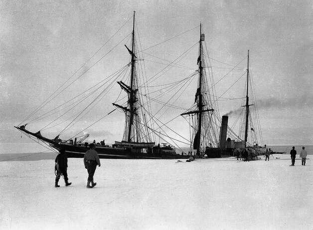 The Terra Nova berthed at Glacier Tongue. Photo: Popperfoto, H.G. Pointing/Terra Nova / Popperfoto