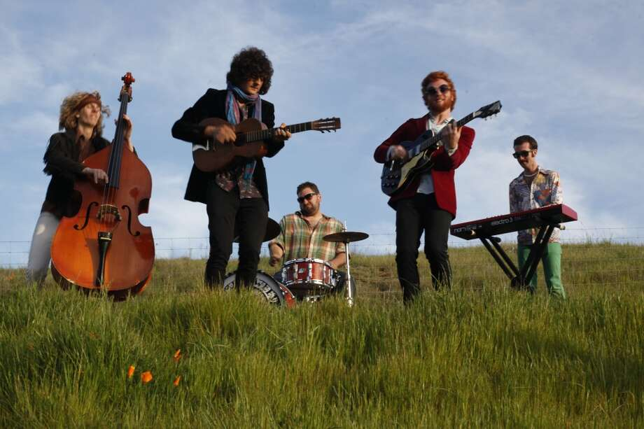 The Tumbleweed Wanderers  play during the making of a music video on April 4, 2013 in Oakland, Calif.