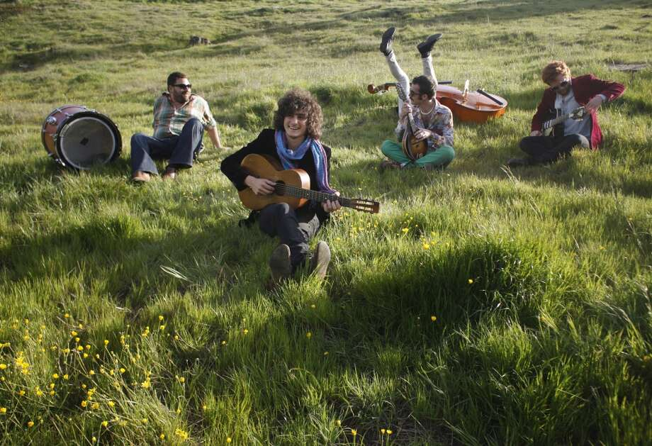 The Tumbleweed Wanderers goof off in the Oakland hills during a break from shooting a music video on April 4, 2013 in Oakland, Calif.