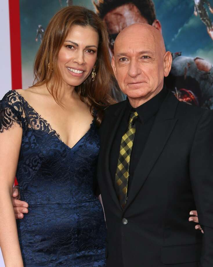 "HOLLYWOOD, CA - APRIL 24:  Actor Sir Ben Kingsley (R) and wife actress Daniela Lavender attend the premiere of Walt Disney Pictures' ""Iron Man 3"" at the El Capitan Theatre on April 24, 2013 in Hollywood, California.  (Photo by David Livingston/Getty Images)"