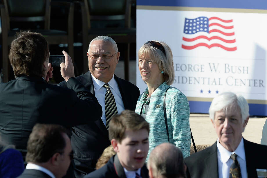 Former U.S. Secretary of State Colin Powell (L) attends the opening ceremony of the George W. Bush Presidential Center April 25, 2013 in Dallas, Texas. The Bush library, which is located on the campus of Southern Methodist University, with more than 70 million pages of paper records, 43,000 artifacts, 200 million emails and four million digital photographs, will be opened to the public on May 1, 2013. The library is the 13th presidential library in the National Archives and Records Administration system. Photo: Kevork Djansezian, Getty Images / 2013 Getty Images