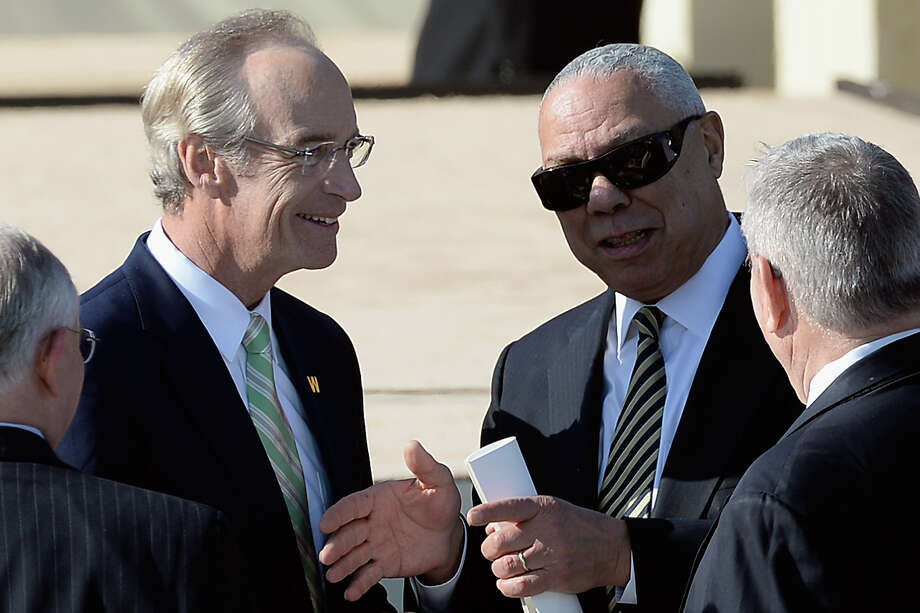 Former U.S. Secretary of State Colin Powell (R) attends the opening ceremony of the George W. Bush Presidential Center April 25, 2013 in Dallas, Texas. The Bush library, which is located on the campus of Southern Methodist University, with more than 70 million pages of paper records, 43,000 artifacts, 200 million emails and four million digital photographs, will be opened to the public on May 1, 2013. The library is the 13th presidential library in the National Archives and Records Administration system. Photo: Kevork Djansezian, Getty Images / 2013 Getty Images