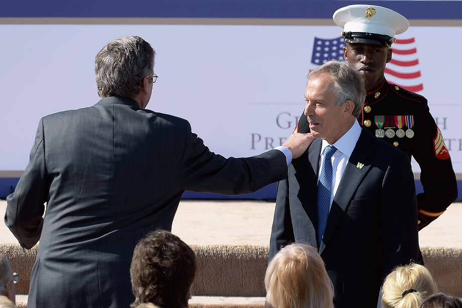 Former Governor of Florida Jeb Bush (L) and former Prime Minister of the United Kingdom Tony Blair attend the opening ceremony of the George W. Bush Presidential Center April 25, 2013 in Dallas, Texas. The Bush library, which is located on the campus of Southern Methodist University, with more than 70 million pages of paper records, 43,000 artifacts, 200 million emails and four million digital photographs, will be opened to the public on May 1, 2013. The library is the 13th presidential library in the National Archives and Records Administration system. Photo: Kevork Djansezian, Getty Images / 2013 Getty Images