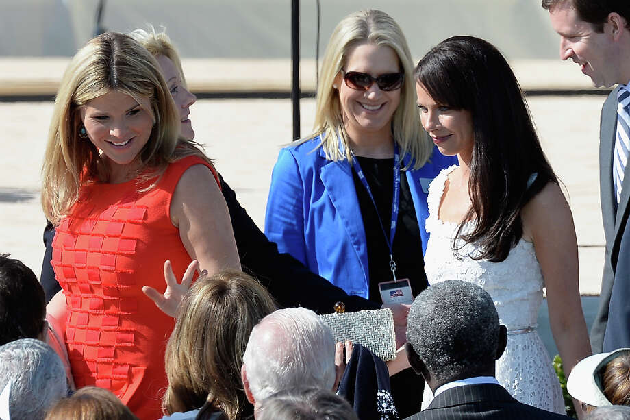 George W. Bush's daughters Jenna Bush Hager (L) and Barbara Bush attend the opening ceremony of the George W. Bush Presidential Center April 25, 2013 in Dallas, Texas. The Bush library, which is located on the campus of Southern Methodist University, with more than 70 million pages of paper records, 43,000 artifacts, 200 million emails and four million digital photographs, will be opened to the public on May 1, 2013. The library is the 13th presidential library in the National Archives and Records Administration system. Photo: Kevork Djansezian, Getty Images / 2013 Getty Images